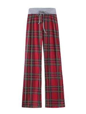 Women's Christmas Check Printed Comfortable Stretch Casual Pants