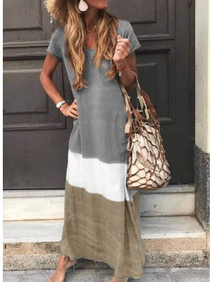 V Neck Casual Short Sleeve Maxi Dresses
