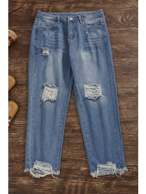 Blue Solid Casual Basic Pants with Pockets