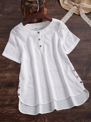 Plus Size Embroideried Short Sleeve Casual Blouse
