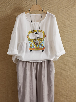 White Round Neck  Loose Half Sleeved Blouse