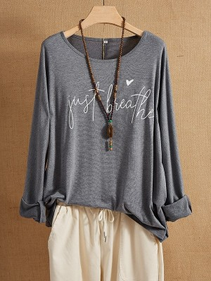 Deep Gray Letter Casual Long Sleeve CottonBlend Shirts & Tops