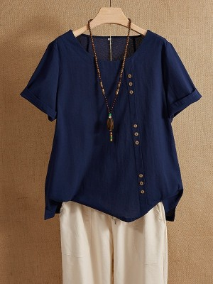 Solid Navy Color Short Sleeve Button Summer T-shirt