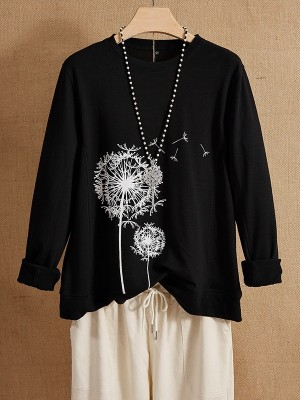 Long Sleeve Black Crew Neck Floral Casual Long Sleeves Shirts & Tops