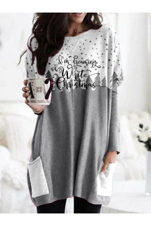 Women I'm Dreaming Of White Christmas Long Sleeve Blouse