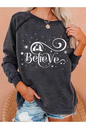 Women's Believe Christmas Print Sweatshirt