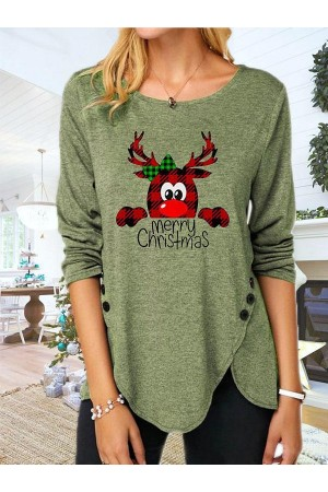 Women's Christmas Print Casual Long Sleeve Round Neck TShirt