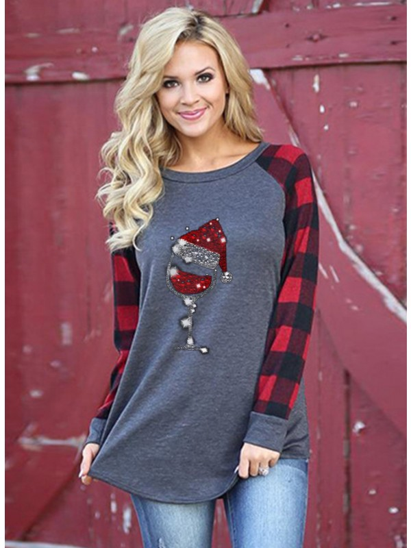 Women's Christmas  Hat And Wineglass Print Longsleeved Red Plaid Stitching Sweatshirt