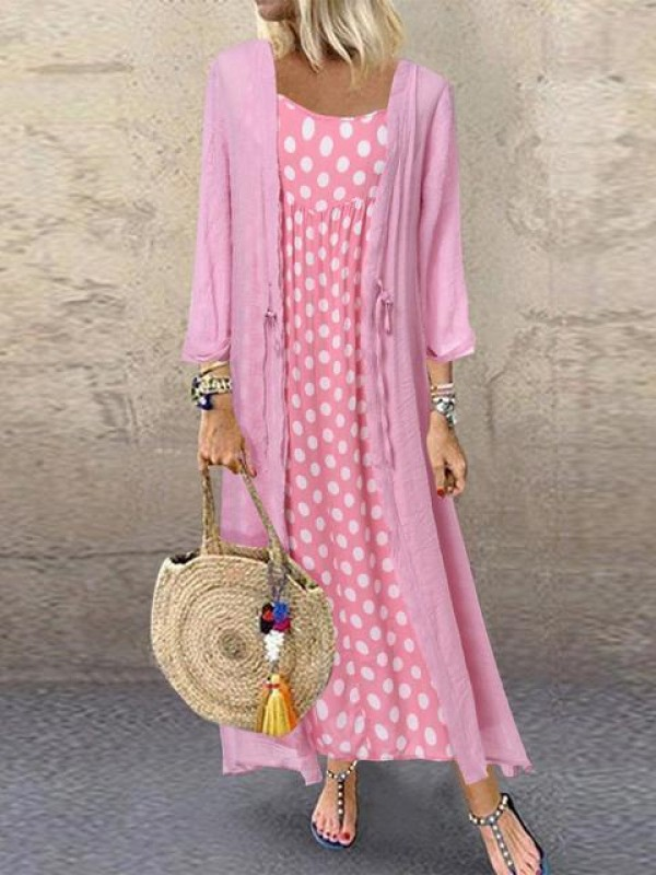 Casual Polka Dot TwoPiece Maxi Dress