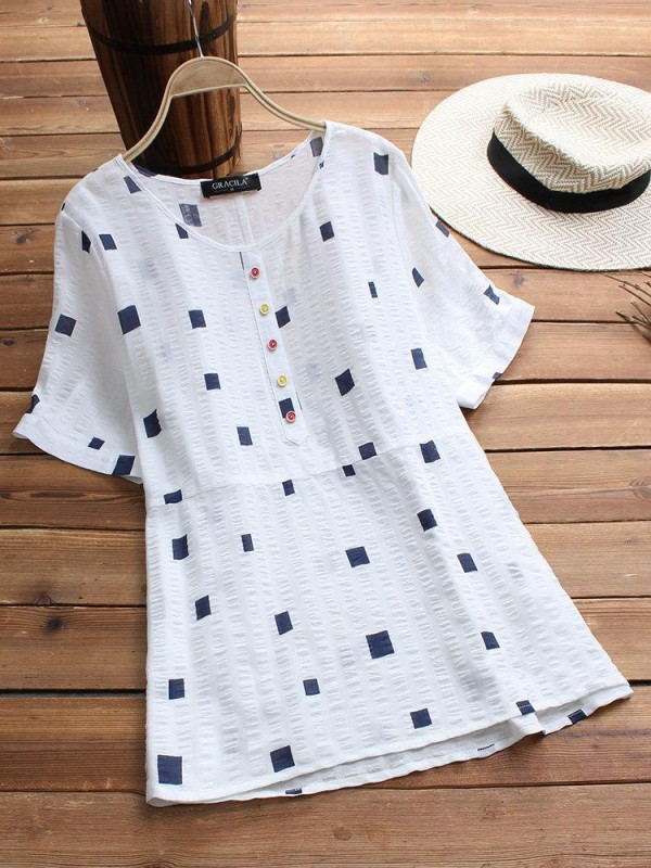 Short Sleeve Geometric Print Casual Tshirt