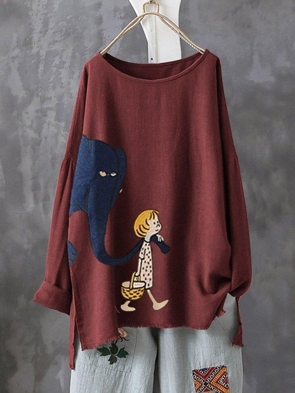Print Cartoon Elephant Irregular Plus Size Tshirt