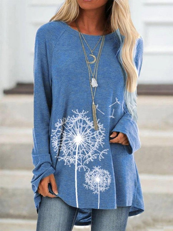 Crew Neck Floral Long Sleeve Shirts & Tops