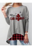 Ladies Red Plaid Merry Christmas Print Sweatshirt